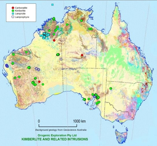 Selected kimberlite and related intrusions in Australia.